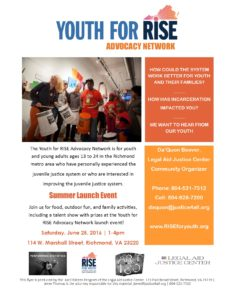 Youth for RISE Advocacy Network Launch Flyer